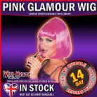 FANCY DRESS WIG ~ LADIES 1920s SHORT BOB STYLE 20's STARLET WIG HOT PINK